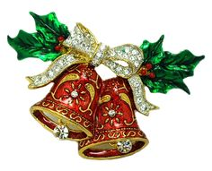 Knowledgeable Christmas Brooches Sleigh Bell Crystal Gold-color Double Bells Brooches Fashion Christmas Bows Multicolor Brooches Fashion Jewelry