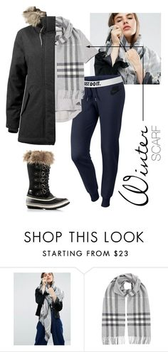 """""""Winter Scarf"""" by excell-sports ❤ liked on Polyvore featuring ASOS, NIKE, adidas, Burberry, SOREL and scarf"""