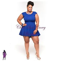 New Plus Size Mini High Low Tuxedo Tail Skater Dress in Royal Blue available at www.chicandcurvy.com
