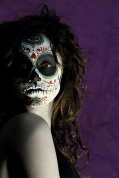 sugar skull make up-  back up halloween costumeeee.
