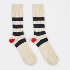 Anonymous Ism Stripe Crew Sock - Natural (Image 1)