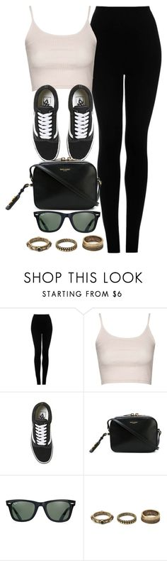 """""""Style #9985"""" by vany-alvarado ❤ liked on Polyvore featuring Topshop, Vans, Yves Saint Laurent, Ray-Ban and Forever 21"""