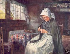 1906: LADY KNITTING. Anne Hathaway's Cottage << portrait art knitter