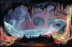 Great concept art for The Island at the Top of the World (1974), very reminiscent of both Journey to the Centre of the Earth and In Search of the Castaways