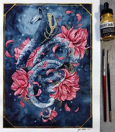 Cobra Tattoo, King Cobra, Tattoo Designs, Tattoo Ideas, Tattoo Inspiration, Amazing Art, Illustrators, Art Pieces, Artsy