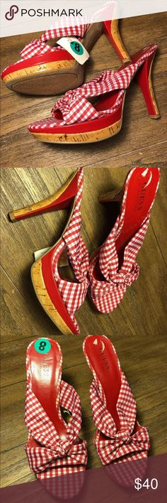 NEW Guess by Marciano Red Gingham Plaid High Heels Guess  By Marciano  Red white gingham check plaid  Platform high heel slip on Mules sandals   Size 8  New with tags  Retail $75 Guess Shoes Platforms