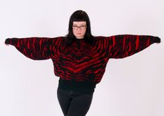 A TRULY Strange-Shaped 1980s Tiger Sweater- Black with Red. Made in Italy. Tiger Face on The Front, Striped on the Back on Etsy, $35.00