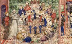 BNF Français 343 Queste del Saint Graal / Tristan de Léonois. 1380-1385.