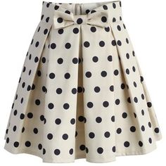 Chicwish Sweet Your Heart Polka Dots Skirt in Beige