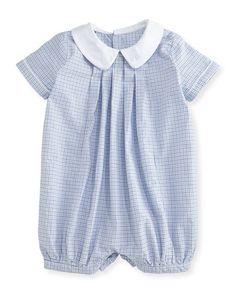 Z1ND0 Ralph Lauren Childrenswear Plaid Pleated Bubble Shortall, White/Blue, Size 3-18 Months