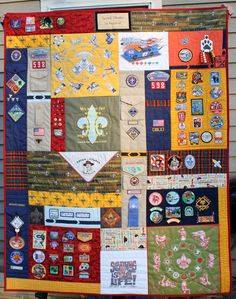 Fantastic Boy/Cub Scouting Memory Quilt, great idea for the boys! i could use pack/ camp t's too!