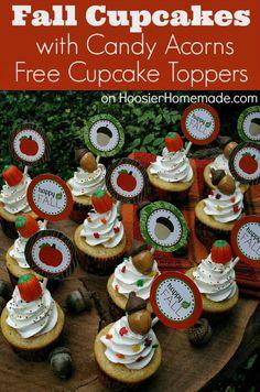 Fall Cupcakes: How to make Candy Acorns + FREE Printable Cupcake Toppers :: on HoosierHomemade.com #Cupcakes, #Printables