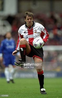 Matt Le Tissier of Southampton in action during the FA Carling Premiership match against Chelsea at The Dell in Southampton England Mandatory Credit. Fc Southampton, Southampton England, Retro Football, Steven Gerrard, Old And New, Chelsea, Saints, Running, 1990s