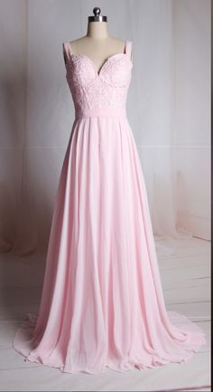 Charming Prom Dress,Pink Chiffon Prom Dresses,Elegant Lace Evening