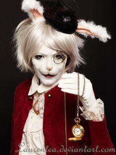 Fully flocked white rabbit makeup. WOW! - 10 Steampunk White Rabbit Cosplays