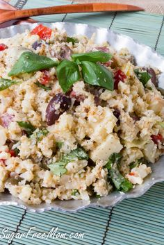 Low Carb Antipasto Cauliflower Rice Salad- sugarfreemom.com