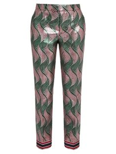 Wave-jacquard silk-blend lamé trousers  | Gucci | MATCHESFASHION.COM US