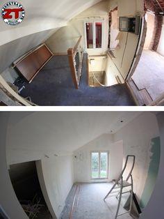 Salle d'eau parentale en cours: escalier fermé, ouverture du mur et placo pour cagibi.