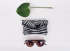Black and White Palm Leaf Leather Sunglass Case by kertis on Etsy