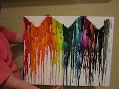 Rainbow crayon canvas