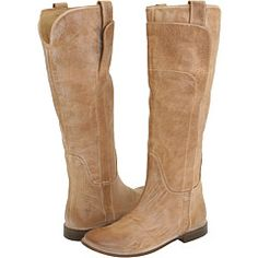 Frye Paige Riding Boot in Tan / Dark Brown