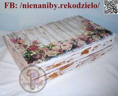 Almost 50 yo white & brown decoupage flower casket by NieNaNiby
