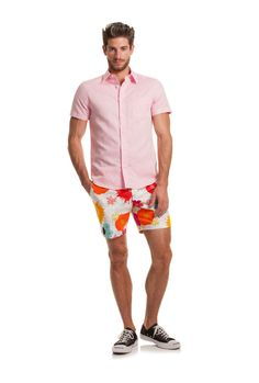 Pep up your look with pink! The cotton and linen blend Slim Jim Shirt is lightweight, airy and is stylish to pair with prints, patterns and solid Mr. Mr Turk, Trina Turk, Patterned Shorts, Men Casual, Slim, My Style, Stylish, Swimwear, Mens Tops