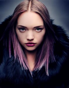 Gemma Ward with ombre lavender hair.