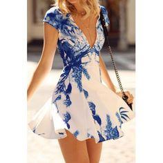 Fashionable Plunging Neck Blue Floral Print Short Sleeve Dress For Women (WHITE,M) in Print Dresses | DressLily.com