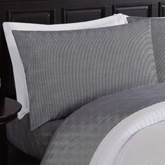 Refresh your bedroom with the understated style and sumptuous comfort of the London Fog Pinstripe Sheet Set. Soft and comfortable in grey tones, the classic pinstripe pattern gives this microfiber sheet set a masculine edge. Twin Sheets, Twin Sheet Sets, 100 Cotton Sheets, All Modern, Duvet, Bed Pillows, Pillow Cases, London