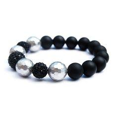 PALOMA  - matte black onyx shell and pave bracelet | © VELINA