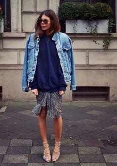 never too cool to wear a sweatshirt over a dress #MajaWyh