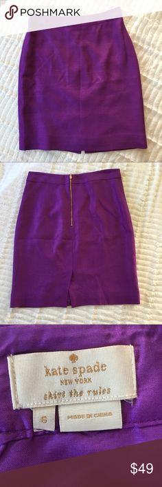 Kate Spade Purple Career Skirt Sz 6 Kate Spade Purple Career Skirt Sz 6. It has a small snag as shown on the picture. Does not stretch. GUC. Feel free to ask any questions :) kate spade Skirts