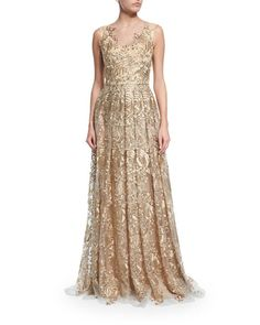 Theia Sleeveless Embroidered Ball Gown
