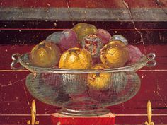 Glass vase filled with fruit (detail) of fresco in a room of Poppaea's Villa at Oplontis, Italy