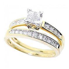 Princess Cut Diamond Engagement Ring and Wedding Band Set 1/2 Carat (ctw) in 10K White Gold (yellow-gold, 5) #princesscutdiamonds