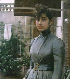 Ramón Casas. Retrato de Elisa Casa y Carbo 1889, detalle. Óleo sobre lienzo, 200 x 100 cm. Colección particular.