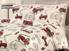 Boys Red Fire Engine Comforter Set By Rugged Bear All Season Full Queen