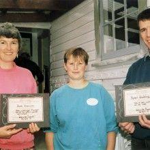 Wallaceville playcentre; community services awards; Angela Erasmusson, co-president Jane Braun, Robert Gladding.