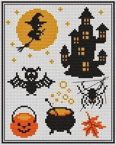 Brujita para Halloween: esquema en punto de cruz.
