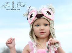 PinkBerry Owl Hat with Ear Flaps Made to ORDER from by IraRott...Paisley's Halloween Costume hat!
