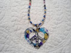Heart Peace Sign Hippie Necklace Peace Pendant Rhinestone Accents