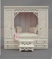 "♥ ""Emma's cupboard bed"", 2 3/16"" wide, 7/8"" deep and 2 1/16"" tall ~ Robin Betterley's Miniatures"