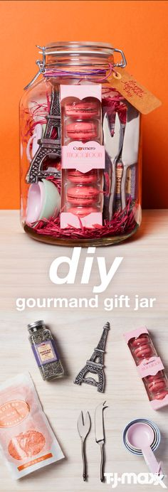 Treat your discerning mom to a gift that's sure to please her palette. Fill a large glass jar or other cool container with fun food items such as cheese spreaders, infused olive oils, spice blends or exotic sweets. Visit TJMaxx.com to find your local store.