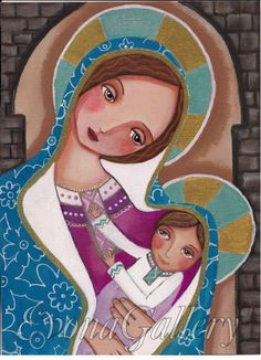 Madonna and Child, Catholik Art  Print Blessed Virgin Marry, Our Lady Of Original Art ,Mix Media, Folk Art, Wall Decore by Evona by Evonagallery on Etsy https://www.etsy.com/listing/190734928/madonna-and-child-catholik-art-print