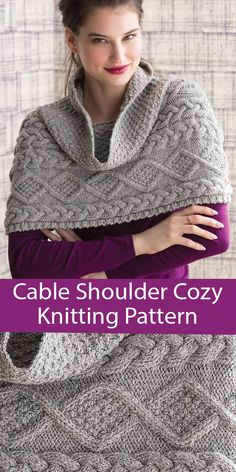 Knitting Pattern for Cable Cowl Shoulder Cozy Poncho - Cropped poncho / cowl hybrid knit sideways and seamed. Designed by Audrey Drysdale. Included in 60 Quick Cowls. Cute Sewing Projects, Knitting Projects, Knitted Poncho, Knitted Shawls, Cable Knitting Patterns, Sweater Patterns, Cable Cowl, Wrap Pattern, Shawls And Wraps
