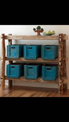 Rough wood shelving with crates for storage