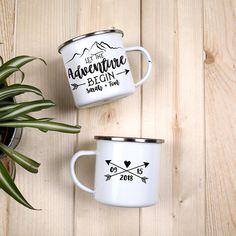 Let The Adventure Begin Wedding Favors Mountain Camping Mug Wedding Camp Mug Personalized Mug Outdoorsy Couple Wedding Mugs Custom / ONE MUG Wedding Mugs, Wedding Couples, Wedding Favors, Diy Wedding, Gown Wedding, Wedding Reception, Wedding Dresses, Candy Gift Box, Diy Mugs