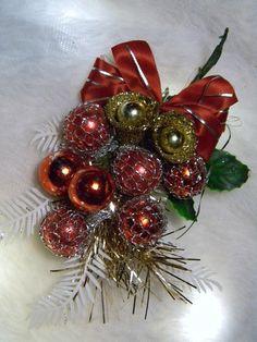 Vintage Christmas Corsage Pin Mercury Glass