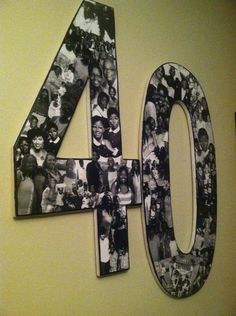 """Overlapping black & white photo collage. Custom made with your pictures. Choose letters or numbers...sizes from 10"""" to 24"""" tall. on Etsy."""